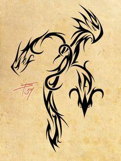 Tribal Dragon Tattoo Design for Men