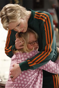 Sue Sylvester, hugging a cheerleader of hers with Down Syndrome after her sister with Down Syndrome passed away. THIS IS FOOD FOR THOUGHT BECAUSE MY FEELS WERE SWEPT AWAY WITH THIS SCENE.
