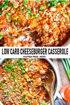 Low carb cheeseburger casserole is a beloved recipe in my house and I have no doubt that it's about to become a favorite in yours too! Who needs fast food anymore? Keto Lunch Ideas, Lunch Recipes, Low Carb Recipes, Dinner Recipes, Cheese Recipes, Salad Recipes, Healthy Recipes, Gf Recipes, Cooker Recipes