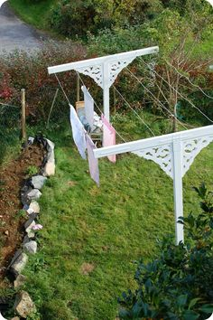 Hand made clothes drying line. Decorated with corbels. Looking lovely in a Norwegian back yard.