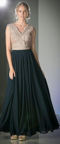 Mocha/Navy Vintage Style Formal Dress #discountdressshop #vintagestyle #mocha #formaldress