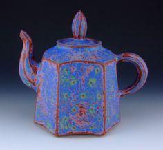 Jeffrey Nichols' tea pot | Source: Ceramic Arts Daily 6/06/2012 | #pottery #teapots #underglazes