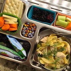Friday's @planetbox lunch is homemade organic chicken noodle soup with extra dill on top, @stonyfield yogurt, blackberries, carrots, parsnips, celery, crackers, and chocolate covered sunflower seeds.  #peanutallergies #healthylunch #healthykidslunch #bento #eattherainbow #rockthelunchbox #realfoodschoollunch #planetbox #organic #realschoollunch #realschoolfood #healthykids #healthykidscommunity #jerf #justeatrealfood #lunchbox #igmeals #planetboxlunches #playwithyourfood #funfood…