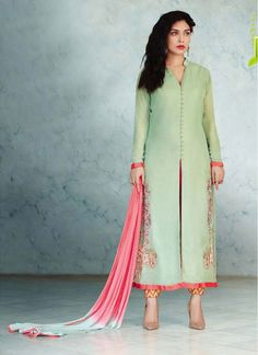 Faux Georgette Pink and Sea Green Lace Designer Straight Salwar Kameez