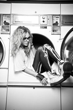 Black and white modeling photography. Haha. love that she is in a washing…