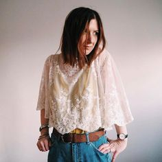 Completely rocking out the Spring vibes today with this beautiful lace top from @thelittledeer. | That Girl Hannah