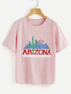 SheIn offers Graphic Print Slub Tshirt   more to fit your fashionable needs. 9f240b3e6adf