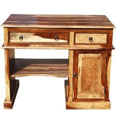 Solid Wood Computer Desk For Small Space In 2020 Desks For Small Spaces Small Wood Desk Wood Computer Desk