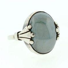 GEORG JENSEN Vintage Sterling & Hematite Ring A Brandt and Son