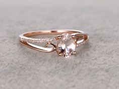 6x8mm Oval Morganite Engagement Ring Diamond Wedding Ring 14k Rose Gold Simple Split Shank