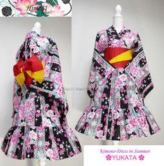 着物浴衣Japanese Kimono Summer Dress Yukata Flower by on Etsy, Japanese Kimono Dress, Yukata, Ravens, Dress Collection, Feminine, Summer Dresses, Flower, Trending Outfits, Cute