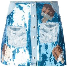 Au Jour Le Jour Sequin Embroidered Denim Skirt (8.875.060 VND) ❤ liked on Polyvore featuring skirts, mini skirts, denim, bottoms, sequin, blue, embroidered skirt, short denim skirts, blue skirt and short mini skirts
