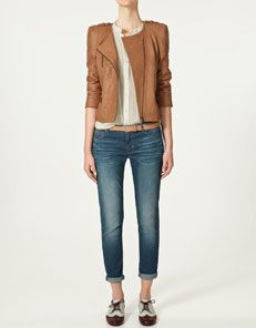 2c7c9ea4c7 zara   Brown Leather Jacket+ white tank+ belt and rolled up pants + brogues    perfect