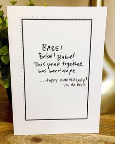 Excited to share the latest addition to my #etsy shop: Babe Anniversary card, Card for him, 1st Anniversary Card for wife, Paper Anniversary, i love you card, 365 days, 1st wedding anniversary #papergoods Anniversary Gift Ideas For Him Boyfriend, Anniversary Cards For Wife, Cute Boyfriend Gifts, Birthday Cards For Boyfriend, Paper Anniversary, 1st Anniversary Quotes, Just Because Boyfriend Gifts I Love You, 1st Year Anniversary Gift Ideas For Him, Homemade Anniversary Gifts