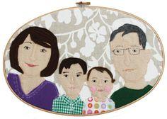 4 Personen personalisiertes Portrait im Stickrahmen nach Wunsch Freunde Freundinnen Paare Familien