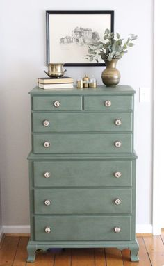 A wood dresser painted green- Amy Howard paints- One step paint- green- Cherbourg- how to use chalk paint- chalk painted finish- green furniture- how to paint furniture- home design- DIY- Do it Yourself project- painted furniture- new knobs #diywoodprojects #paintedfurniture #diywoodfurnitureprojects #furnituredesign #chalkpaintedfurniture