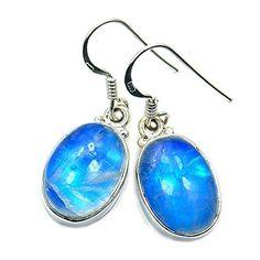 'Luminous Moon' Sterling Silver Blue Moonstone Dangle Earrings  Price : $41.95 http://www.silverplazajewelry.com/Luminous-Sterling-Silver-Moonstone-Earrings/dp/B00LOMBPR0