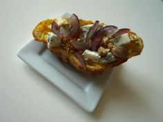 Croissant with grapes, blue cheese, and confiture orange