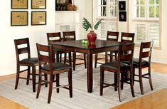 Furniture of America Kelsie Tapering Leg 9-Piece Counter-Height Table Set, Brown