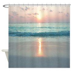 Beach Sunset Shower Curtains from Beach Shower Curtains Store enhance your Beach… Beach House Bathroom, Beach Theme Bathroom, Beach Bathrooms, Bathroom Ideas, Small Bathroom, Blue Bathrooms, Ocean Bathroom, Bathroom Makeovers, Basement Bathroom