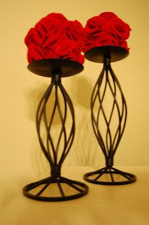 """""""Felt"""" Rosette Flower Ball on top of candle holders. Valentines Flowers, Valentines Day, Flower Ball, Rosettes, Artsy Fartsy, Candle Holders, Baby Shower, Candles, Crafty"""