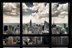 New York City Skyline Faux Window Empire State Building Photo Poster 36x24 | eBay