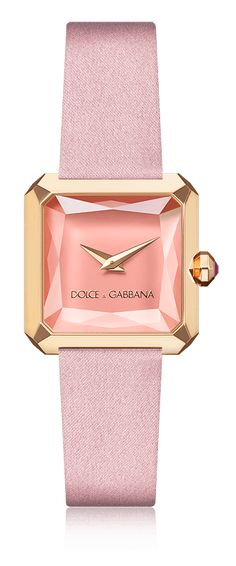 Dolce & Gabbana Sofia: women's watch with gold case, natural rubies and pink satin strap. Available for online purchase.