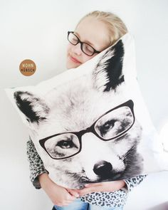 Perfect gift for those who adore foxes. Simple and funny 'Smart Fox' white pillowcase with digital print – a unique product by WohnHuebsch via en.DaWanda.com