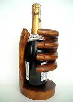 Fair Trade Hand-Carved Wooden~ Wine Bottle Holder Stand
