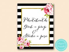 Photobooth sign grab a prop and strike a pose by MagicalPrintable