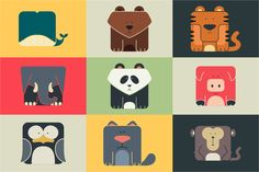 Set flat square icons of a animals by Andrew Bzh. on Creative Market