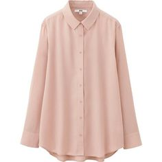 Silk Touch Long Sleeve Blouse (7 Colours) found on Polyvore featuring tops, blouses, shirts, clothing - ls tops, pink blouse, long sleeve shirts, uniqlo shirts, pink silk shirt and drape shirt