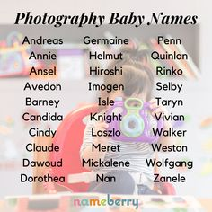 Though photography is one of the youngest art forms, there has been enough history to produce an aggregation of interesting names; from Ansel to Imogen to Zanele. Click through for more! #babynames #photography #photographynames #uniquenames
