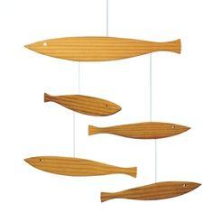 Flensted Floating Fish Wood Modern Hanging Baby Mobile Kinetic Art | eBay