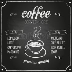 Retro coffee typography sign on a chalkboard Can be used as menu board for restaurant or bars  Stock Vector