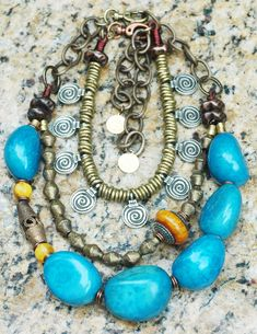 Bold Blue Tagua Necklace $250 Nigerian Collar Necklace $250 African Inspired Jewelry Statement Jewelry Tribal Jewelry