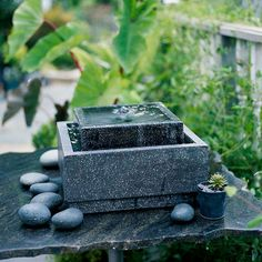 small-scale water feature:  Best For: Gardeners looking for style and flexibility with low time and maintenance commitments. Ready-made tabletop and patio-size water features are readily available in an assortment of design styles. Most are relatively simple to install and maintain.