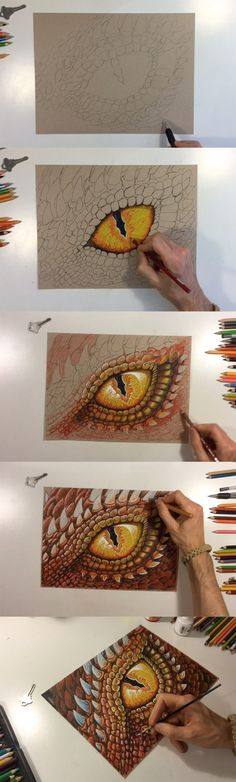 Fantasy art time-lapse drawing of a fire dragon eye. Colored pencil artwork by Aaron Spong