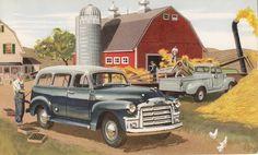 GMC farm use vehicles, 1952 advert art