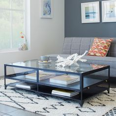 See-through style. Inspired by a museum display case, the Shadow Box Coffee Table combines the airy beauty of glass with a sturdy iron base in a dark metal finish. An additional shelf beneath provides extra storage.