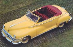 1948 convertible yellow Chrysler Windsor highlander, tartan interior See more about Highlanders and Tartan.