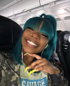 Vintage Hairstyles With Bangs Sew In Hairstyles, Baddie Hairstyles, Black Girls Hairstyles, Vintage Hairstyles, Green Hair, Blue Hair, Natural Hair Bangs, Sew In Wig, Birthday Hair