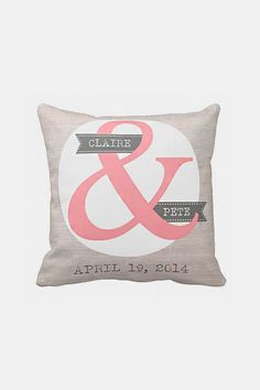 Personalized Wedding Gift Pillow Cover Cotton! I WANT THIS! I LOVE AMPERSANDS