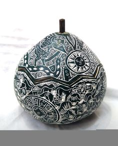 Mate burilado peruvian pumpkin engraved with lid various uses de Peruartisan en Etsy