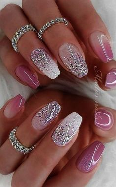 Deluxe Nail Care Kit Fall Sparkly Nails Pink und Silber bis Nail Care Tipps In M. - Deluxe Nail Care Kit Fall Sparkly Nails Pink und Silber bis Nail Care Tipps In Mal . Summer Acrylic Nails, Best Acrylic Nails, Acrylic Nail Designs, Nail Art Designs, Sparkly Nail Designs, Fancy Nails Designs, Gorgeous Nails, Pretty Nails, Deluxe Nails