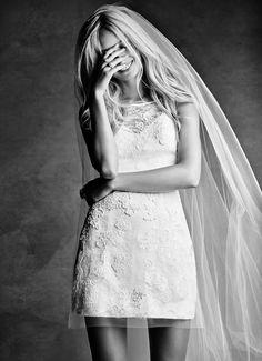 White by Vera Wang Short Lace Wedding Dress at David's Bridal