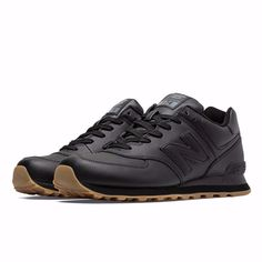 New Balance - 574 Leather - Black with Gum