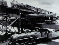 Triple Crossing in Steam Locomotive Days. This site is in Richmond, Virginia and exists in 2014.
