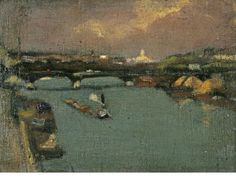 """""""Pont Neuf,"""" Paul Cornoyer, oil on canvas laid to card, 4 3/4 x 7"""", private collection."""