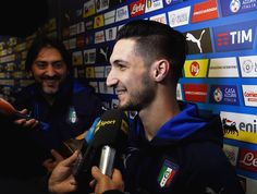 Matteo Politano of Italy speaks to the media during a press conference at the club's training ground at Coverciano on November 9, 2016 in Florence, Italy.